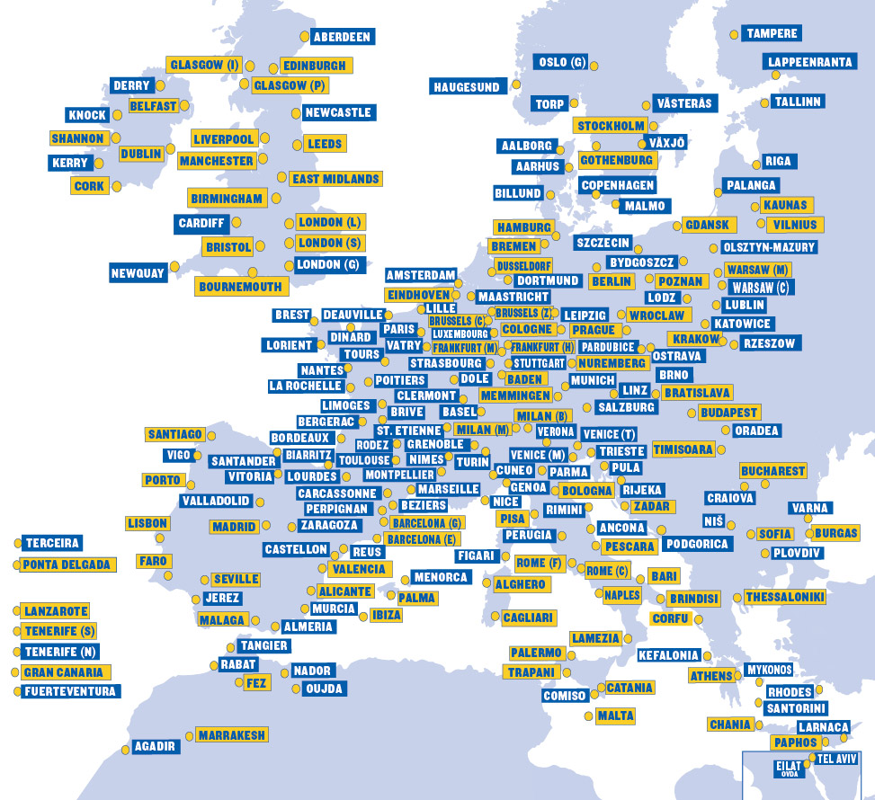 Ryanair Route Map Our Network | Ryanair's Corporate Website Ryanair Route Map