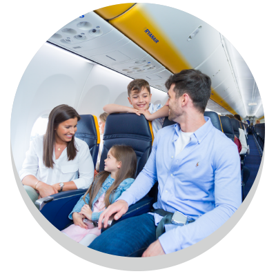 family in a plane